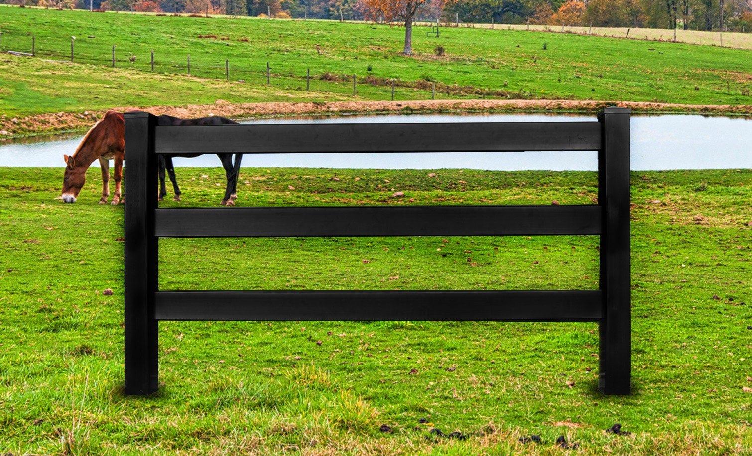 Black Vinyl Horse Fencing Black Vinyl Ranch Rail Fencing